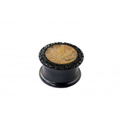 Ebony Metal Grinder carved With Stone Mix 40 mm 2 parts