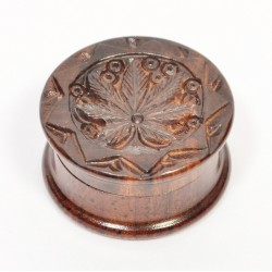 Rosewood Metal Box Carved 40 mm 2 parts