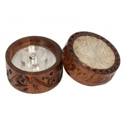 Rosewood Metal Box Carved 30 mm 2 parts