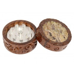 Rosewood Metal Box Leaf Carved Stone Mix 40 mm 2 parts