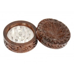 Rosewood Metal Box Carved 50 mm 2 parts