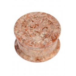 Stone Metal Box Om Carved 40 mm 2 parts