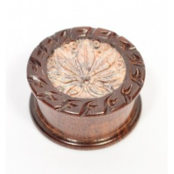 Small Rosewood Grinder Stone Mix Leaf Carved