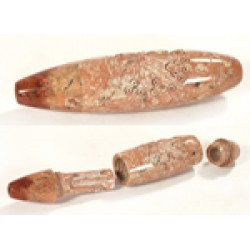 Stone Round Longway Pipe Carved