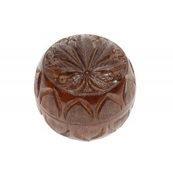 Rosewood Metal Bowl Box Carved 30 mm 2 parts