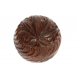Rosewood Metal Bowl Box Carved 40 mm 2 parts